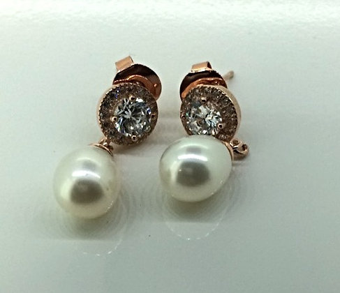 Helen Cui Pearl and Rose Gold Plated Earrings