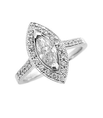18ct White Gold Marquise Diamond Cluster Ring With Diamond Shoulders