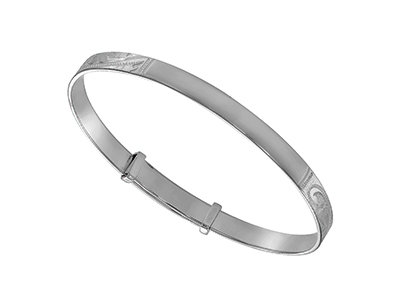 Sterling Silver Engraved Pattern with Plain 34mm space to Engrave