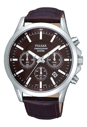 Brown Leather Pulsar Watch