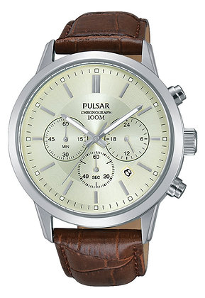 Brown Leather Alligator Patterned Pulsar Watch