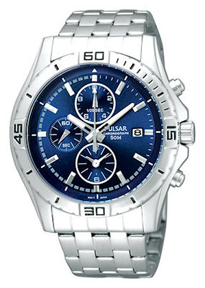 Silver Pulsar Watch with Blue Dial