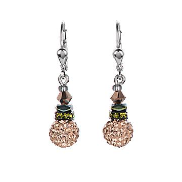 Rhinestone Brown and Olive Crystal Earrings