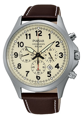 Brown Leather Pulsar Sports Watch