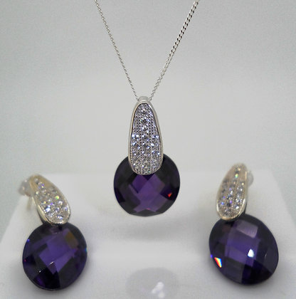 Purple Sterling Silver Earring and Necklace Set