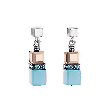 Aqua, Opal and Black Geo Cube Earrings