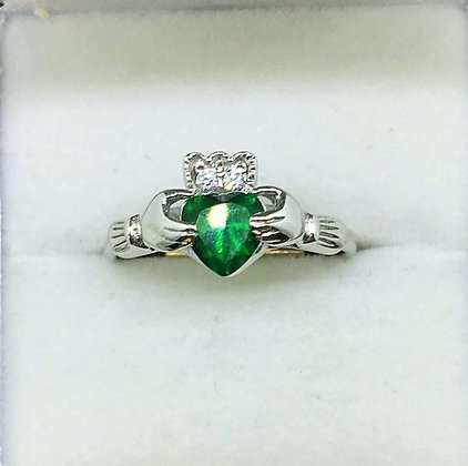 Claddagh Ring with Emerald Coloured Stone