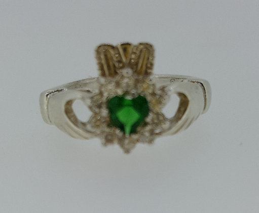 Sterling Silver Emerald Stone Claddagh Ring