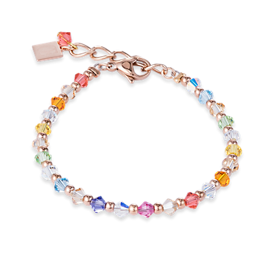 Bracelet Swarovski Crystals & stainless steel rose gold mutlicolour pastel