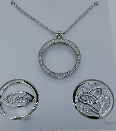 Cristallo Silver Plated Caílín Pendant Set