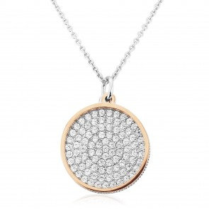 Waterford Silver and Rose Disc Pendant