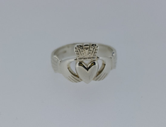 Sterling Silver Claddagh Ring with band design