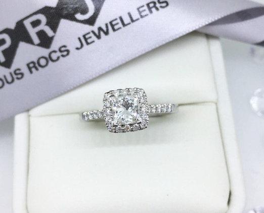 18ct White Gold Princess Cut Diamond Halo Engagement Ring  1.71ct Diamonds