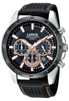 Padded Black Leather Strap Chronograph Lorus Watch
