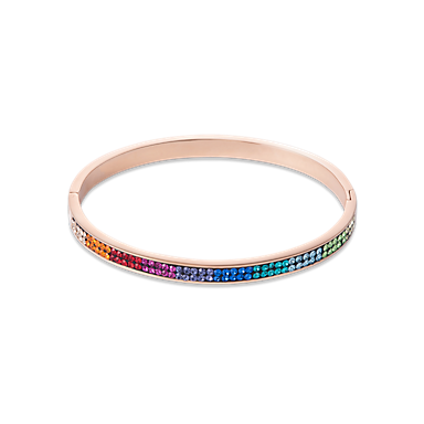 Bangle stainless steel rose gold & crystals pave multicolour