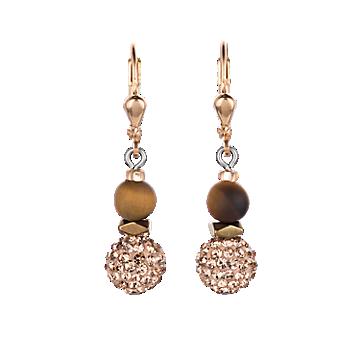 Matte Brown Rhinestone Earrings
