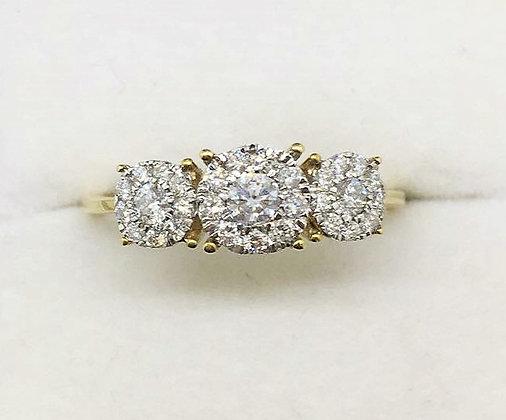 9ct Yellow Gold Diamond Engagement Ring