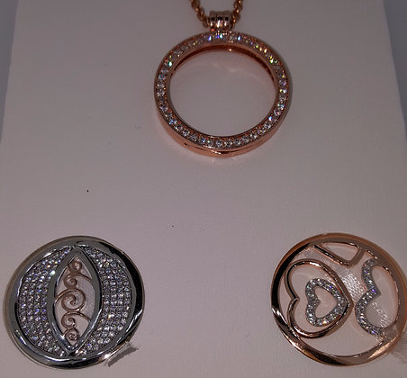 Cristallo Rose Gold Plated Pendant Set
