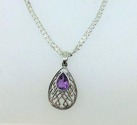 Celtic Design Pendant with Purple Coloured Stone