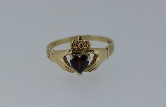 9ct Gold Claddagh Ring with Garnet Stone
