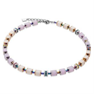 Geo Cube Rose-White Necklace