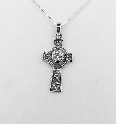 Sterling Silver Celtic Cross with CZ Stone