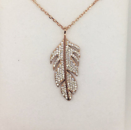 Sterling Silver Rose Gold Plated Feather Pendant