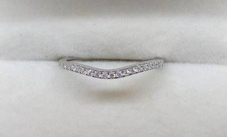 9ct White Gold Diamond Curved Wedding Ring