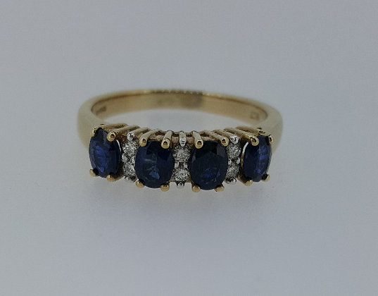 9ct Gold Diamond Sapphire Ring