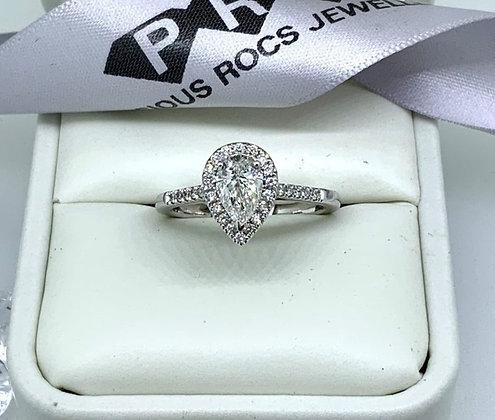 18ct White Gold Pear Cut Diamond Halo Engagement 1.00ct Diamonds