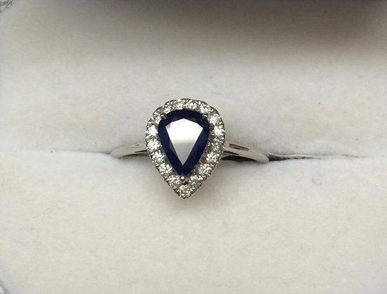 9ct White Gold Diamond Saphire Engagement Ring