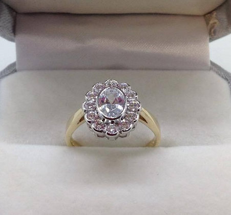 9ct Yellow Gold Oval Cluster CZ Ring