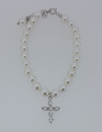 Pearl Bracelet with Cross