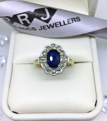9ct yellow Gold 8x6 Sapphire And Diamond Cluster Ring  1.61ct
