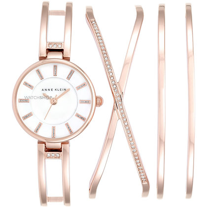 Anne Klein Rose Gold Toned Watch and Bracelet Set