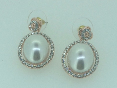 Rose Gold Plated Pearl Earrings