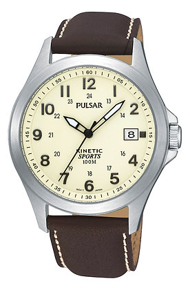 Brown Leather Kinetic Pulsar Watch