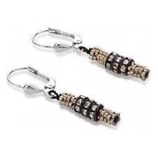 Rhinestone & Haematite Brown Earrings
