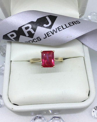 9ct Yellow Gold Emerald Cut Ruby Gemstone Ring
