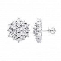 9ct White Gold Diamond Cluster Stud Earrings