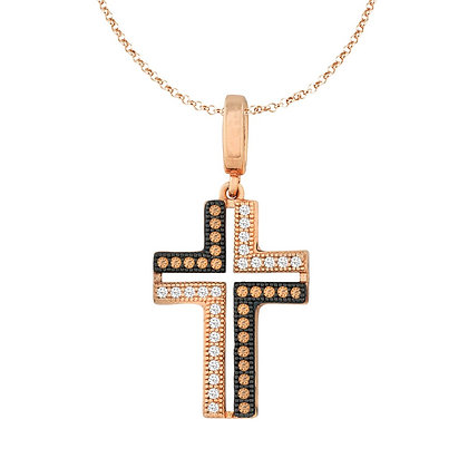 Rose Gold and Ruthenium Champagne Sapphire Cross