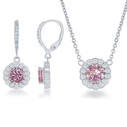 Pink Sapphire Set with Lever Back Earrings