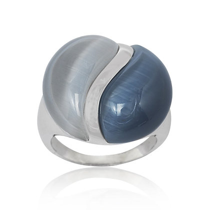 Dark and Light Blue Cat's Eye Ring