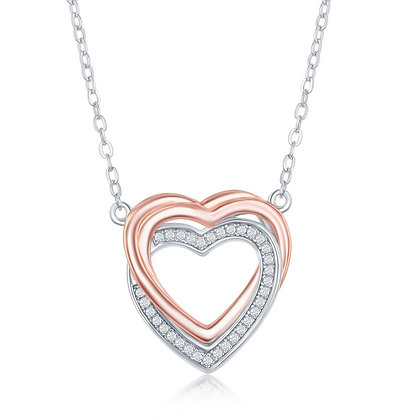 Two Tone Heart Necklace