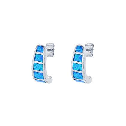 Blue Australian Opal Omega Earrings