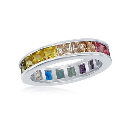 Rainbow Channel Eternity Band Semi-Precious Stone