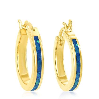 Blue Opal Yellow Hoops