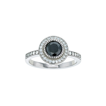 Black Sapphire Bezel Ring