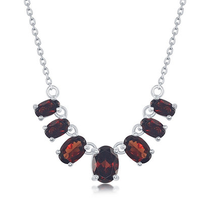 Oval Graduated Garnet Necklace