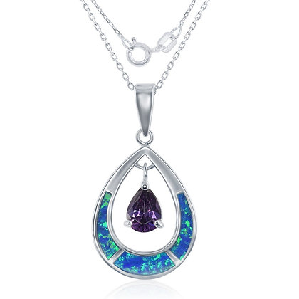 Blue Opal and Amethyst Necklace